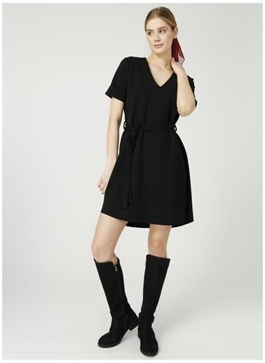 Fabrika Fabrika V Yaka Düz Siyah Elbise Siyah